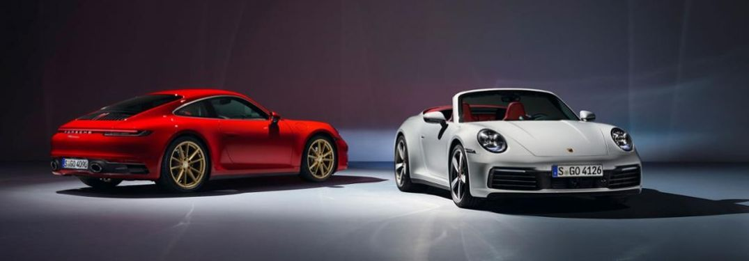 2020 Porsche 911 Carrera in red and white
