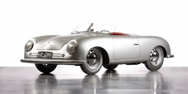 Silver 1948 Porsche 356/1 on White Background