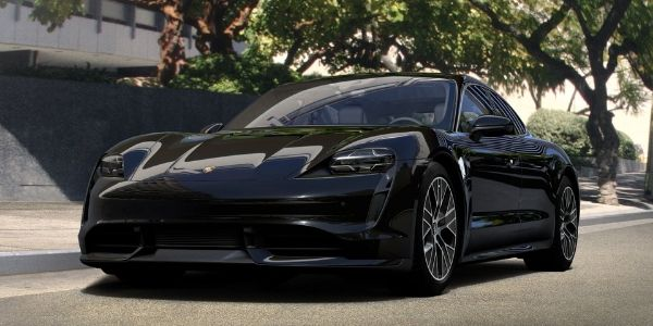 Jet Black Metallic 2020 Porsche Taycan on City Street