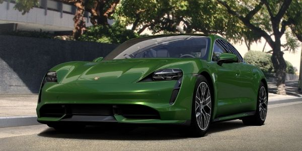 Mamba Green Metallic 2020 Porsche Taycan on City Street