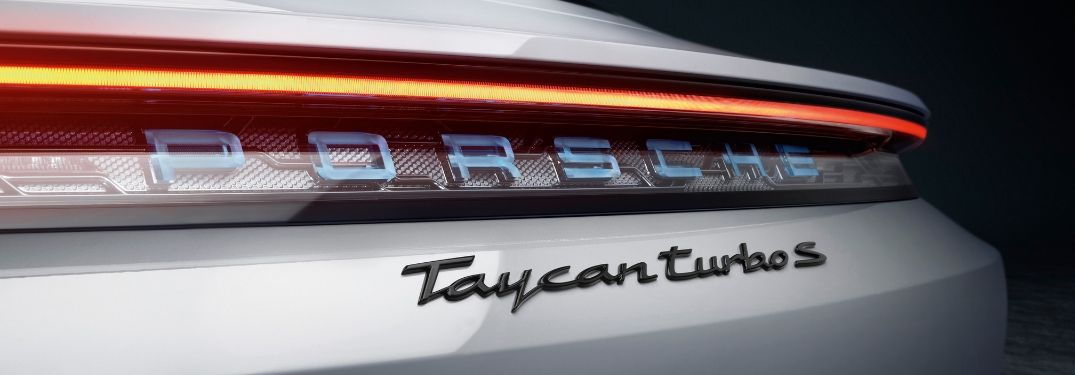 Close Up of 2020 Porsche Taycan Turbo S Rear Tailgate and Taillight