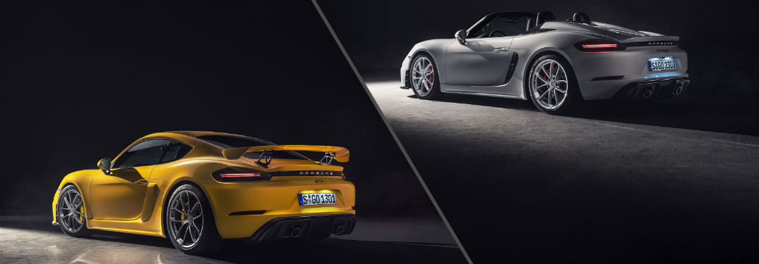 2020 Porsche 718 Cayman GT4 and Spyder Exterior Driver Side Profiles Side By Side
