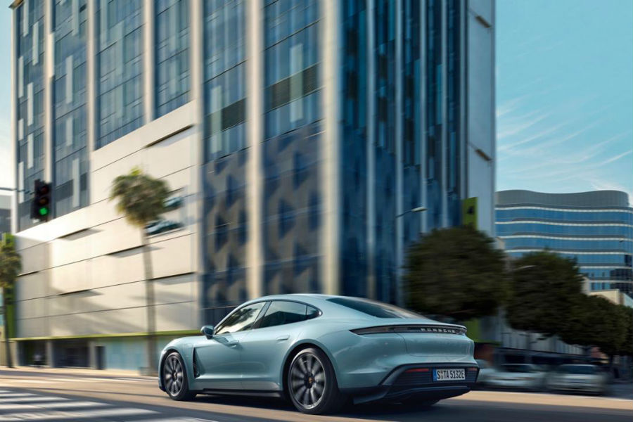 2020 Porsche Taycan 4S Exterior Driver Side Rear Profile