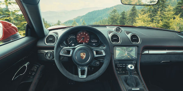 Interior view of Porsche 718 Cayman GTS 4.0