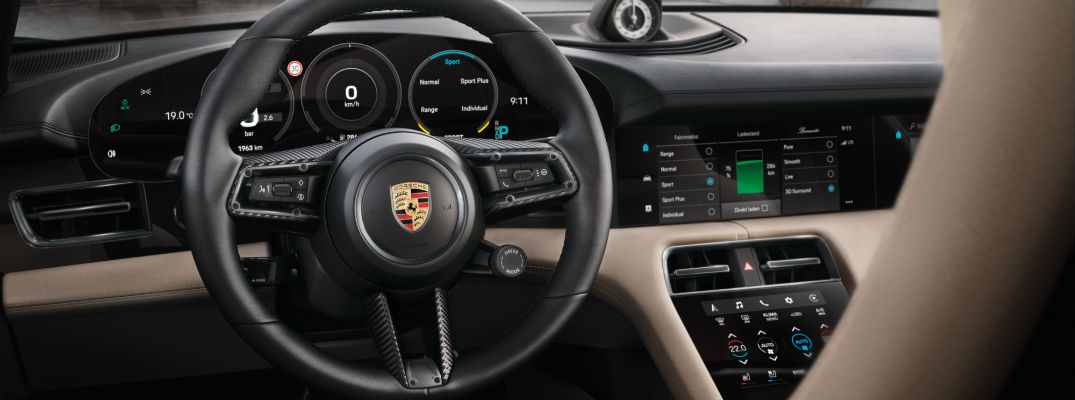 Interior view of Porsche vehicle
