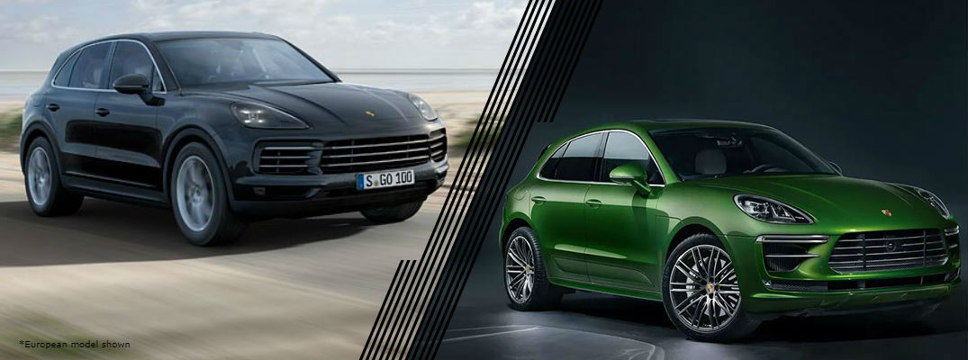 European Black 2020 Porsche Cayenne and green 2020 Porsche Macan