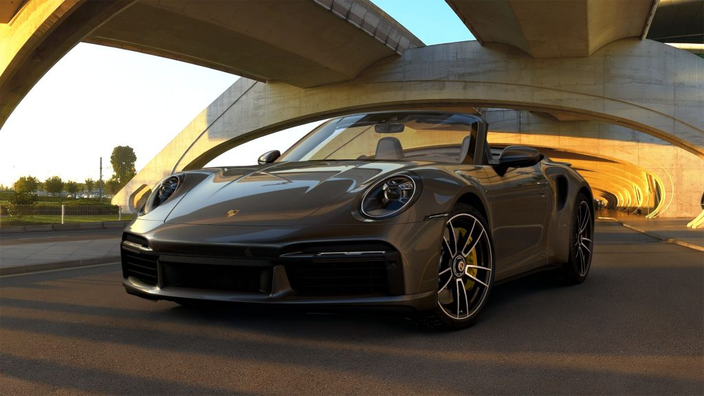 2021 Porsche 911 Turbo S Cabriolet in Agate Grey Metallic