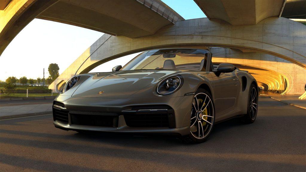 2021 Porsche 911 Turbo S Cabriolet in Aventurine Green Metallic