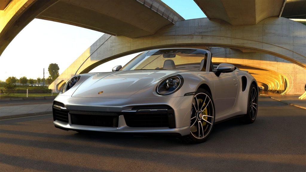 2021 Porsche 911 Turbo S Cabriolet in Dolomite Silver Metallic