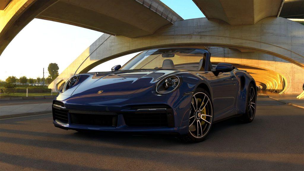 2021 Porsche 911 Turbo S Cabriolet in Gentian Blue Metallic