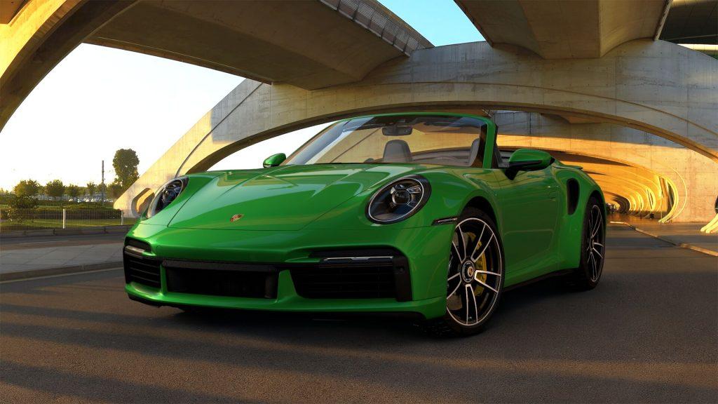 2021 Porsche 911 Turbo S Cabriolet in Python Green