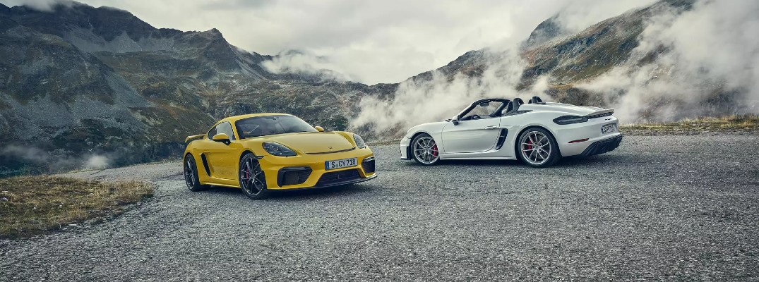 Yellow and white 2020 Porsche 718 Spyder models
