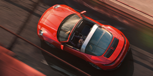 Overhead view of red 2021 Porsche 911 Targa
