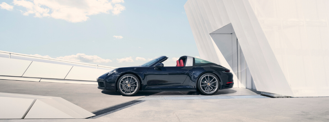 Black 2021 Porsche 911 Targa with roof down