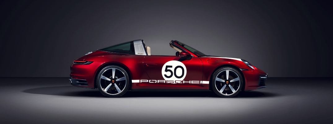 Side view of red 2021 Porsche 911 Targa 4S Heritage Design Edition