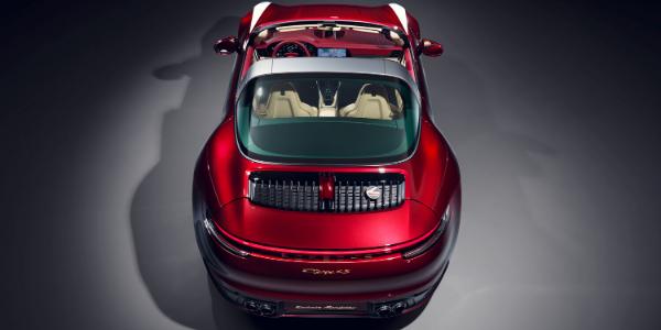 Overhead view of red 2021 Porsche 911 Targa 4S Heritage Design Edition