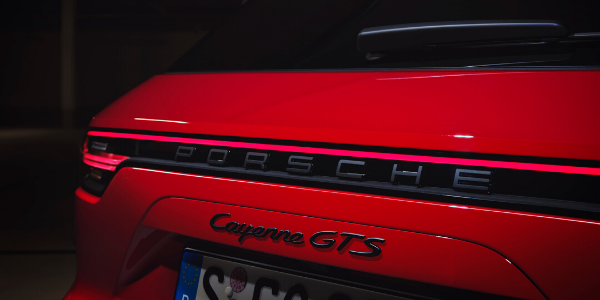 Closeup of red 2021 Porsche Cayenne GTS