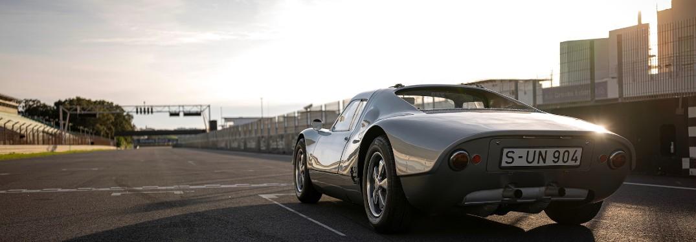 rear view of a silver Porsche GTS