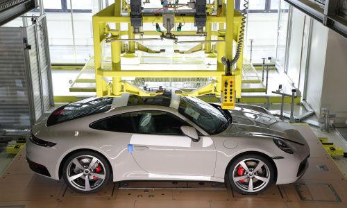 White Porsche 911 in procution
