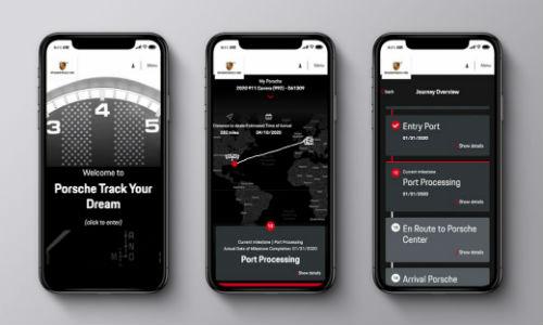 Three smartphones with Porsche Track Your Dream screens open
