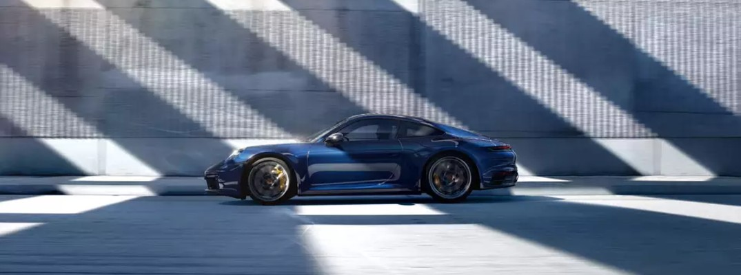 Profile view of blue 2021 Porsche 911