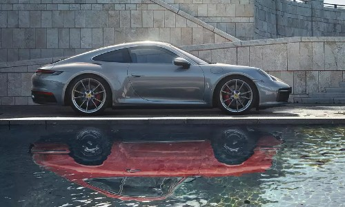 Gray 2021 Porsche 911 with red reflection