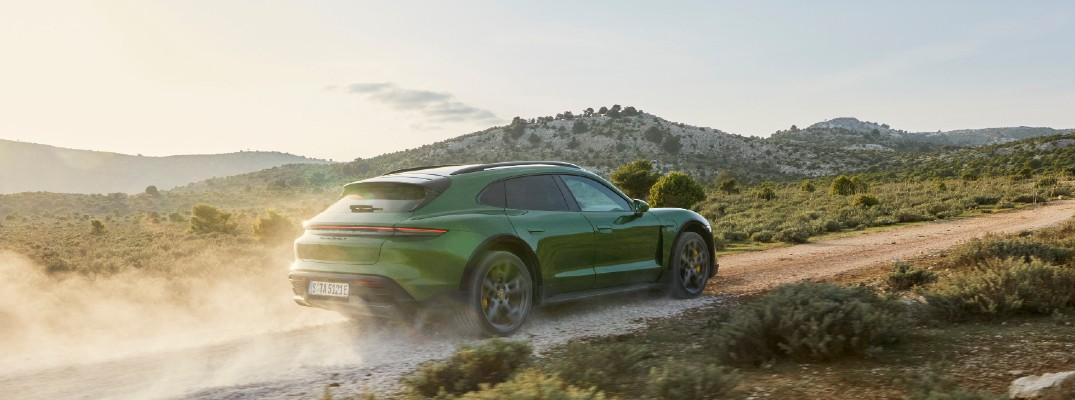 Green 2021 Porsche Taycan Cross Turismo driving