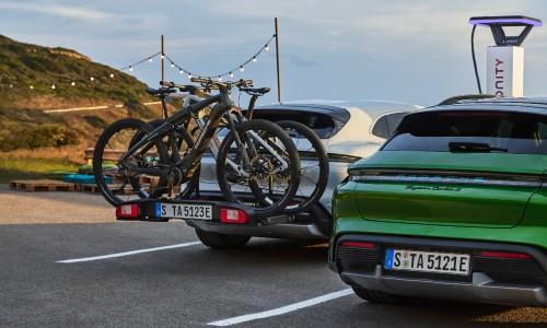 White 2021 Porsche Taycan Cross Turismo with bikes on back