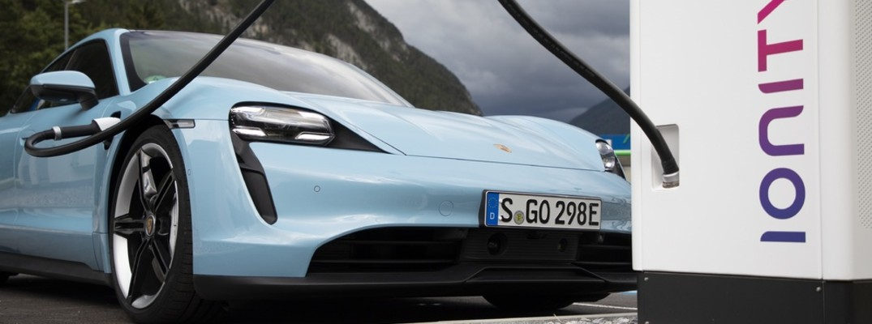 Blue 2021 Porsche Taycan charging