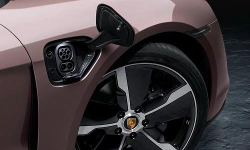 Closeup of charging port on 2021 Porsche Taycan