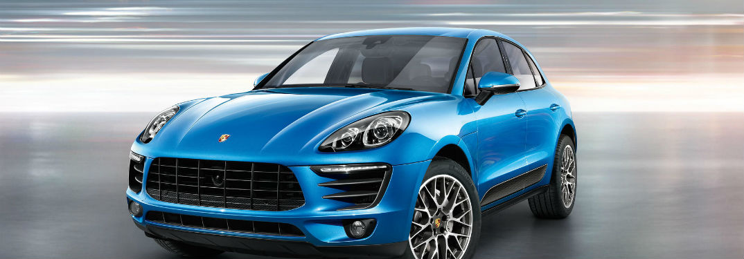 2018 Porsche Macan Safety Features with an image of a Macan with a gray and white background