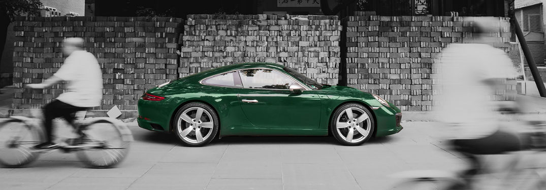 Check Out the Porsche 911 on Instagram with image of 2017 Porsche 911 in color with background in black and white
