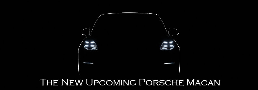 A First Look at the New Porsche Macan with an image of an illuminated outline of a 2018 Macan