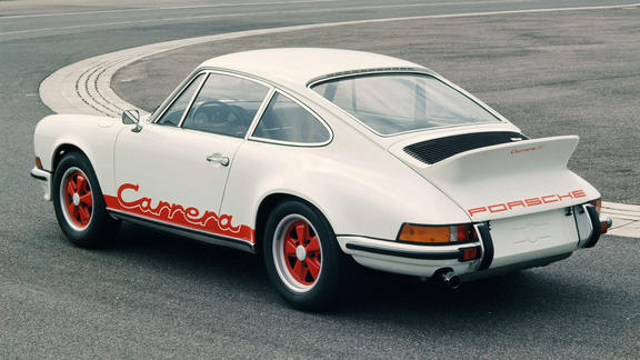 1972 Porsche 911 Carrera RS 2.7 on a race track