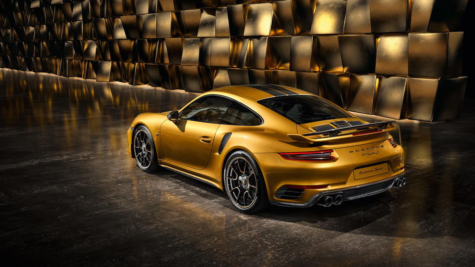 2017 Porsche 911 Turbo S Exclusive Series in a gold room