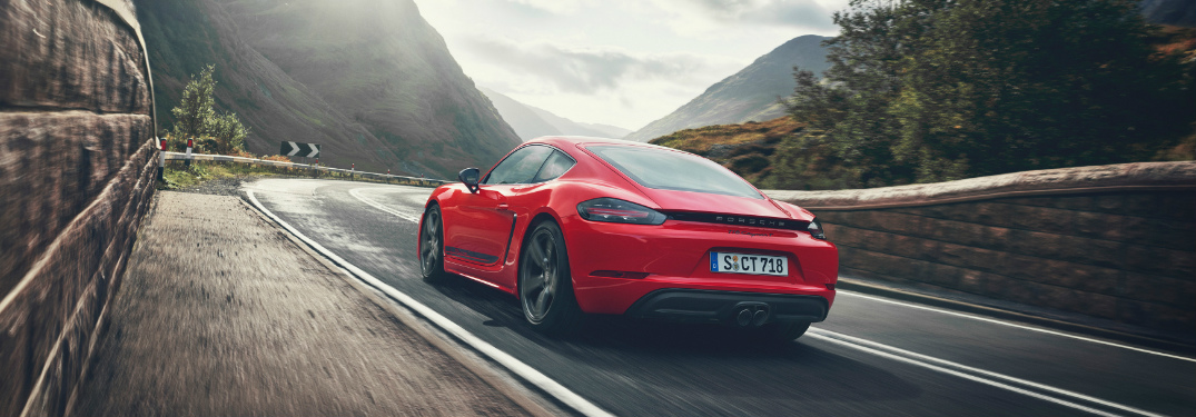 Rear view of red 2019 Porsche 718 Cayman T