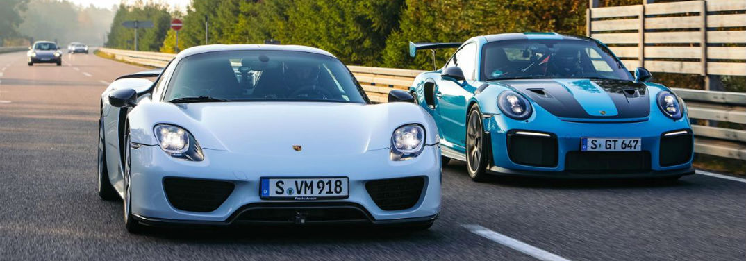 Top 5 Fastest Porsche Cars with image of Porsche 918 Spyder and Porsche 911 GT2 RS