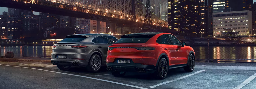 Two 2019 Porsche Cayenne Coupe models parked together