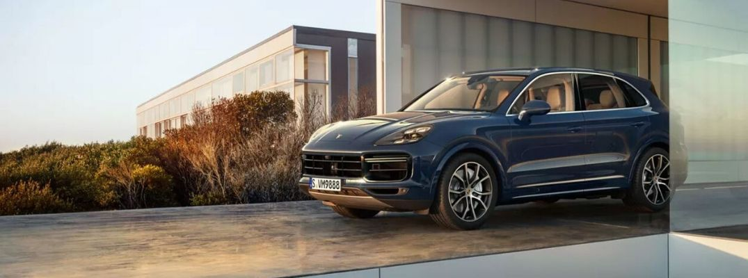 Exterior view of a blue 2020 Porsche Cayenne