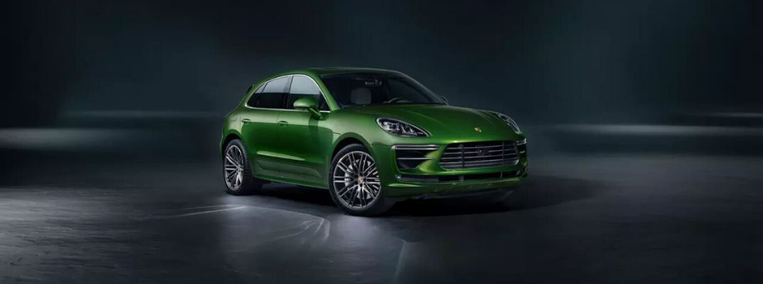 Exterior view of a green 2020 Porsche Macan