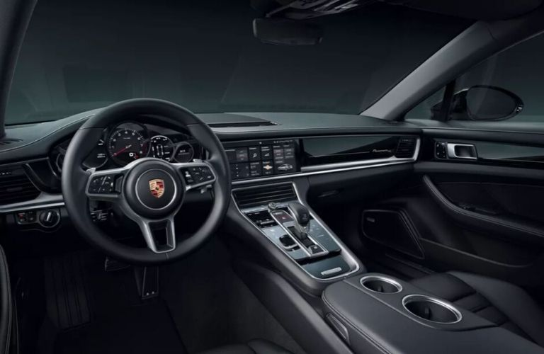 Interior view of the front seating area inside a 2020 Porsche Panamera
