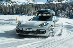 2020 Porsche Panamera driving through snow
