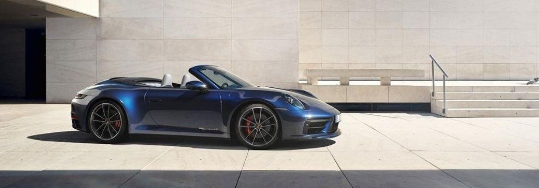 Exterior view of a blue 2020 Porsche 911