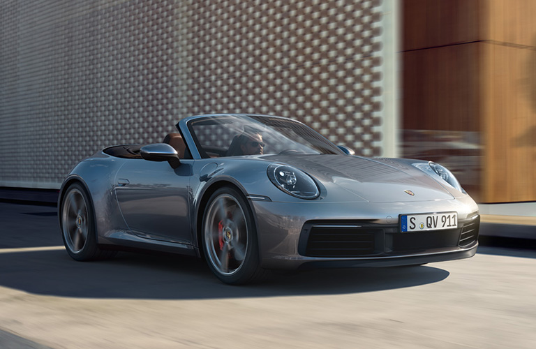 Exterior view of the front of a silver 2020 Porsche 911