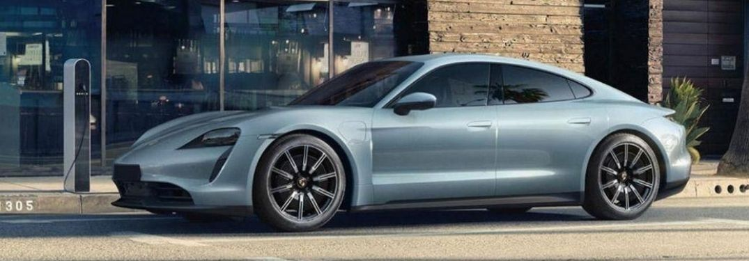 Exterior view of a gray 2020 Porsche Taycan