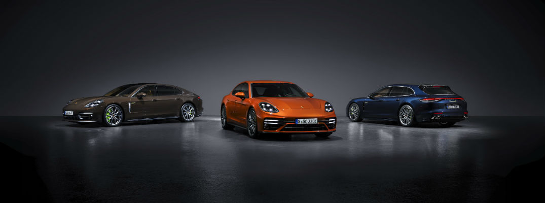 A photo of the three 2021 Porsche Panamera models lined up.