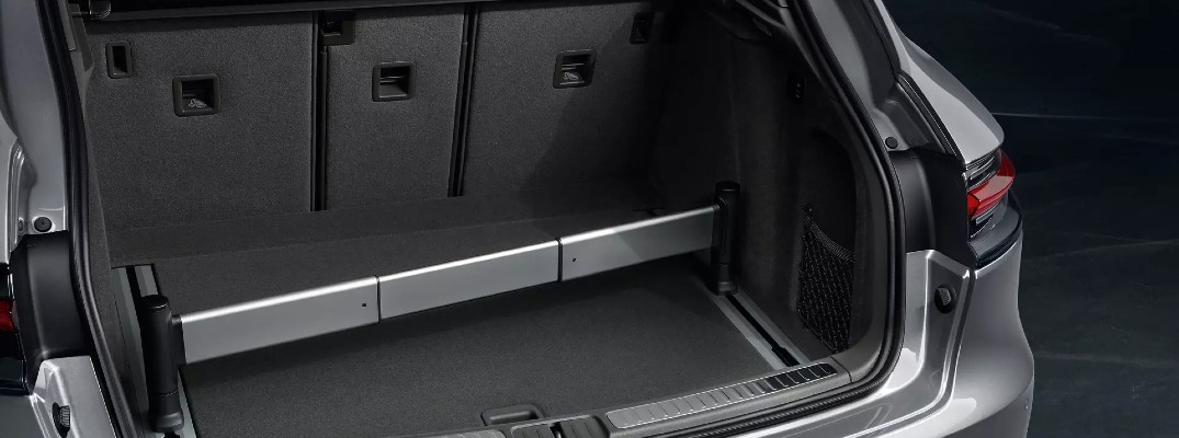 A photo of the cargo area in the rear of the 2020 Porsche Macan.