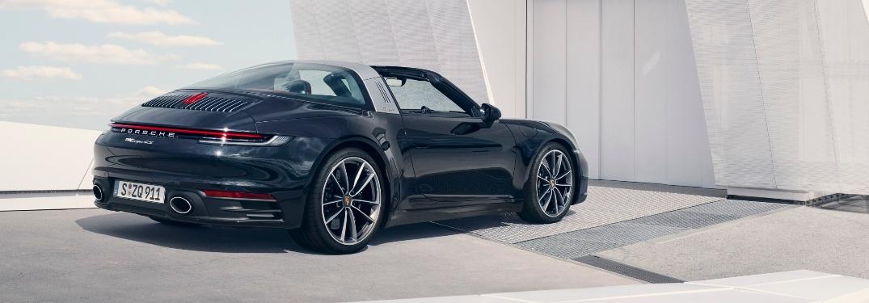 2021 Porsche 911 Targa 4 facing a wall