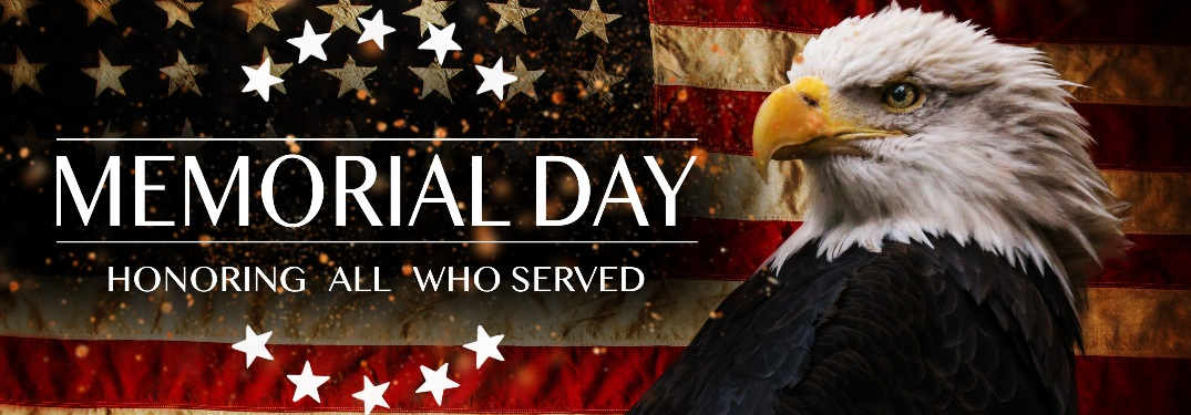 Memorial Day honoring all who served with an eagle