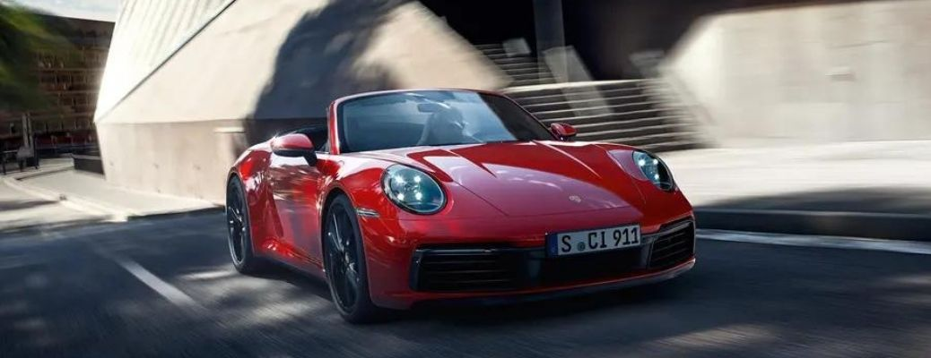 2022 Porsche 911 Carrera GTS front view on road